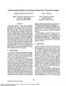 Understanding Mathematical Expressions from ... - Robert Haralick