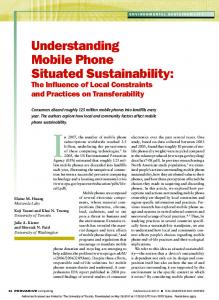 understanding mobile Phone Situated Sustainability - CiteSeerX
