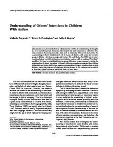 Understanding of Others' Intentions in Children with Autism