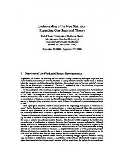 Understanding of the New Statistics: Expanding Core Statistical Theory