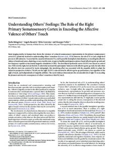 Understanding Others' Feelings: The Role of the Right Primary ...