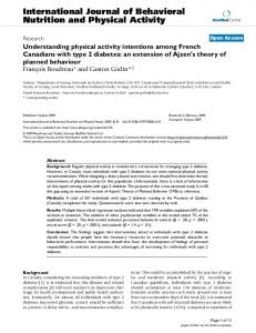 Understanding physical activity intentions among French Canadians ...