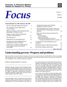 Understanding poverty: Progress and problems - Institute for ...