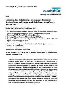 Understanding Relationships among Agro-Ecosystem Services ... - MDPI