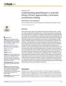 Understanding spearfishing in a coral reef fishery: Fishers ...