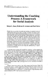 Understanding the Coaching Process: A Framework for Social Analysis.
