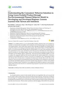 Understanding the Consumers' Behavior Intention in Using ... - MDPI