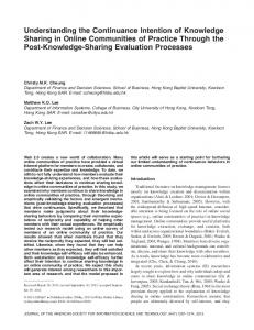 Understanding the continuance intention of knowledge sharing in ...