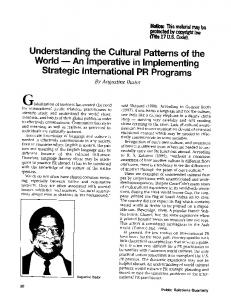 Understanding the Cultural Patterns of the