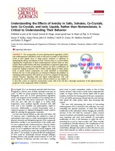 Understanding the Effects of Ionicity in Salts, Solvates, Co-Crystals ...