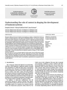 Understanding the role of context in shaping the development of ...