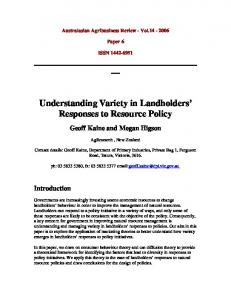Understanding Variety in Landholders' Responses to ... - AgEcon Search