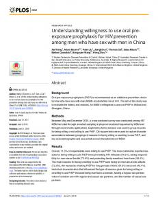Understanding willingness to use oral pre-exposure ... - PLOS