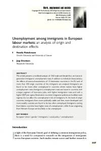 Unemployment among immigrants in European labour markets: an ...