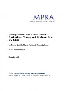 Unemployment and Labor Market Institutions - Munich Personal ...