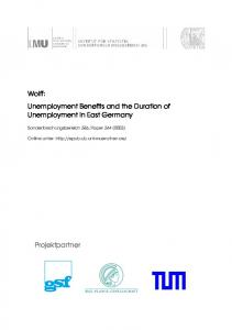 Unemployment Benefits and the Duration of Unemployment in East ...