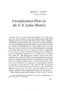 Unemployment Flows in the US Labor Market - Core