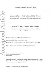 Unexpected factors affecting the excitability of ... - Wiley Online Library