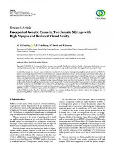 Unexpected Genetic Cause in Two Female Siblings with High Myopia ...