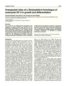 Unexpected roles of a Dictyostelium homologue of eukaryotic EF-2 in ...
