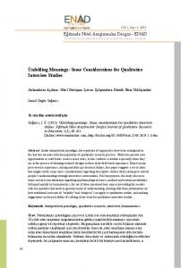 Unfolding Meanings: Some Considerations for Qualitative Interview ...