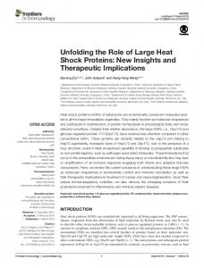 Unfolding the Role of Large Heat Shock Proteins - Semantic Scholar