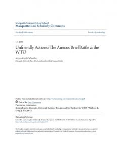 Unfriendly Actions: The Amicus Brief Battle at the WTO