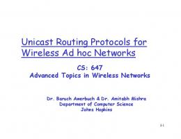 Unicast Routing Protocols for Wireless Ad hoc Networks