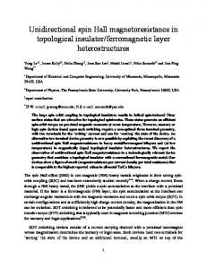 Unidirectional spin Hall magnetoresistance in topological ... - arXiv