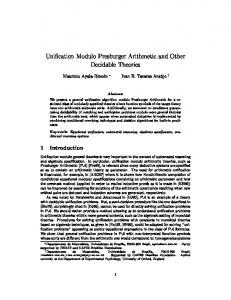 Unification Modulo Presburger Arithmetic and Other Decidable Theories