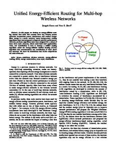 Unified Energy-Efficient Routing for Multi-hop Wireless ... - OSU ECE
