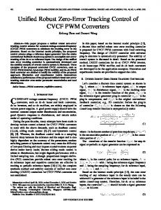 Unified robust zero-error tracking control of CVCF PWM converters ...