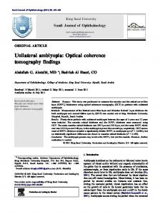 Unilateral amblyopia: Optical coherence tomography findings - Core
