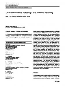 Unilateral Blindness Following Acute Methanol Poisoning - Europe PMC
