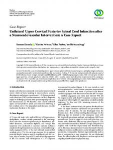 Unilateral Upper Cervical Posterior Spinal Cord Infarction after a ...