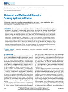 Unimodal and Multimodal Biometric Sensing Systems: A ... - IEEE Xplore
