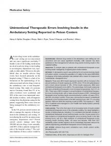 Unintentional Therapeutic Errors Involving Insulin in the Ambulatory ...