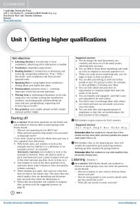Unit 1 Getting higher qualifications
