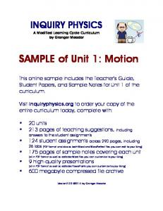 Unit 1: Motion - SAMPLE