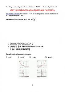 unit 10: exponential and logarithmic functions. - matematicasmiguel71