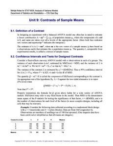 Unit 9: Contrasts of Sample Means