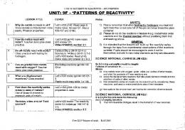UNIT: 9F — 'PATTERNS OF REACTIVITY'~ - SOWs