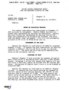UNITED STATES BANKRUPTCY COURT FOR THE NORTHERN ...