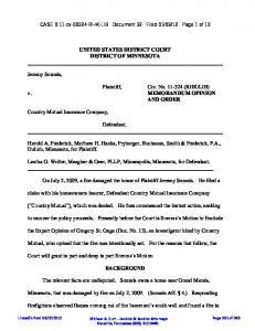UNITED STATES DISTRICT COURT DISTRICT OF MINNESOTA ...