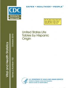 United States life tables by Hispanic origin - Centers for Disease ...