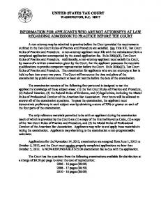 UNITED STATES TAX COURT INFORMATION FOR APPLICANTS ...