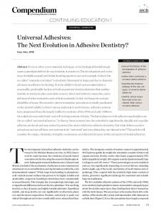 Universal Adhesives: The Next Evolution in Adhesive ... - Dr Gary Alex