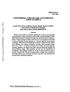 UNIVERSAL CELLULAR AUTOMATA AND CLASS 4
