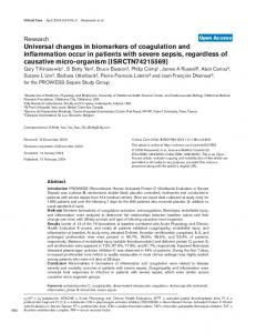Universal changes in biomarkers of coagulation and ... - BioMedSearch