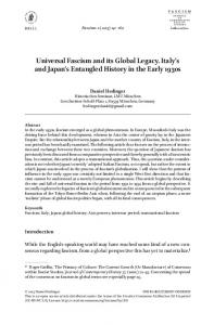 Universal Fascism and its Global Legacy. Italy's and Japan's